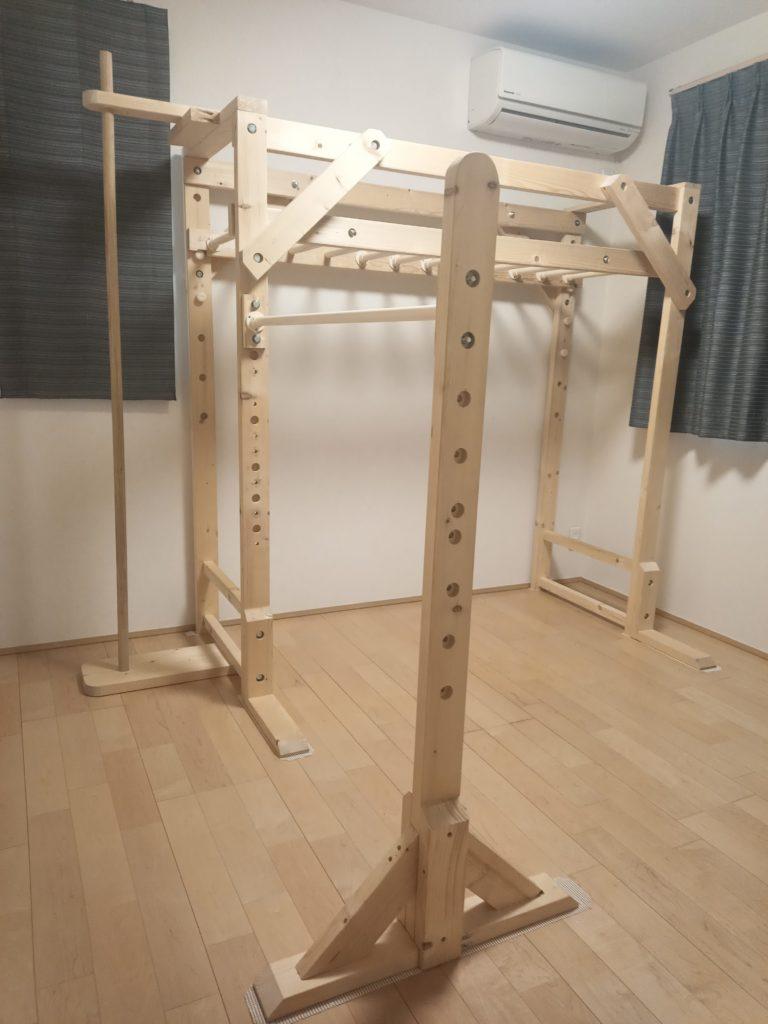 室内 うんてい 鉄棒 のぼり棒 自作 DIY 木工 イレクターパイプ