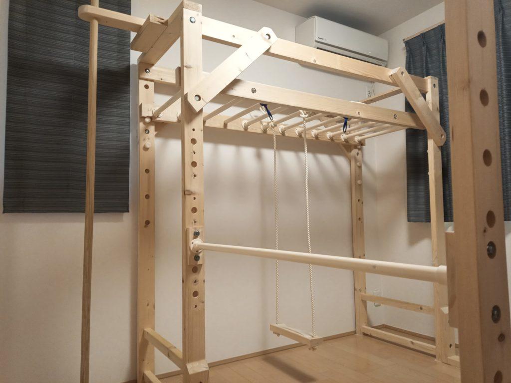 室内 うんてい 鉄棒 のぼり棒 ブランコ 自作 DIY 木工 イレクターパイプ