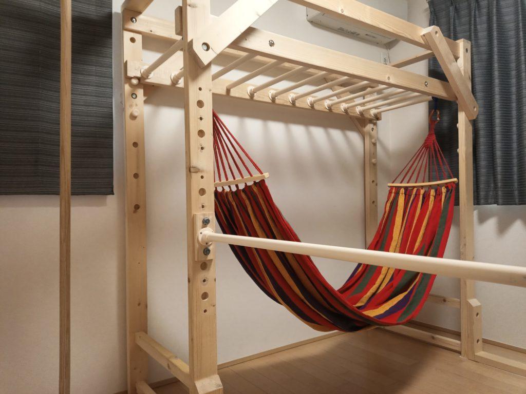 室内 うんてい 鉄棒 のぼり棒 ハンモック 自作 DIY 木工 イレクターパイプ