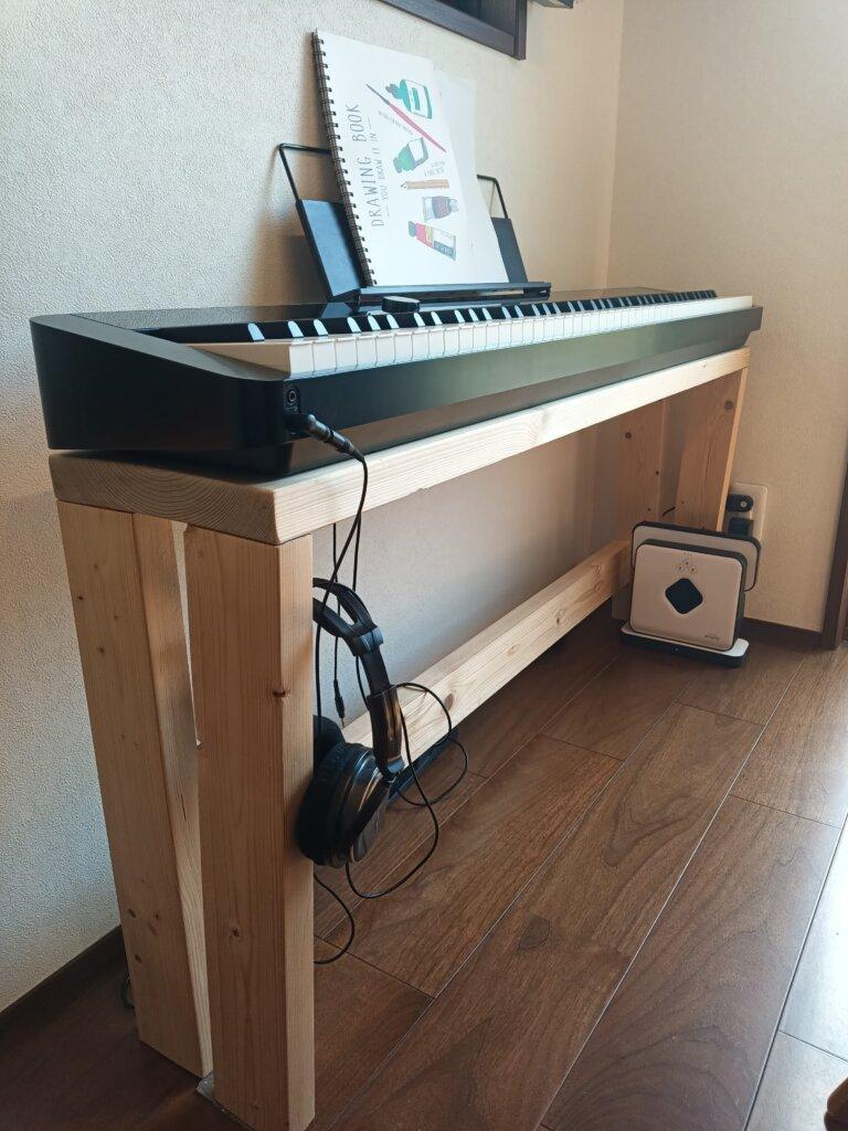 木工DIYで作った簡易ピアノ台