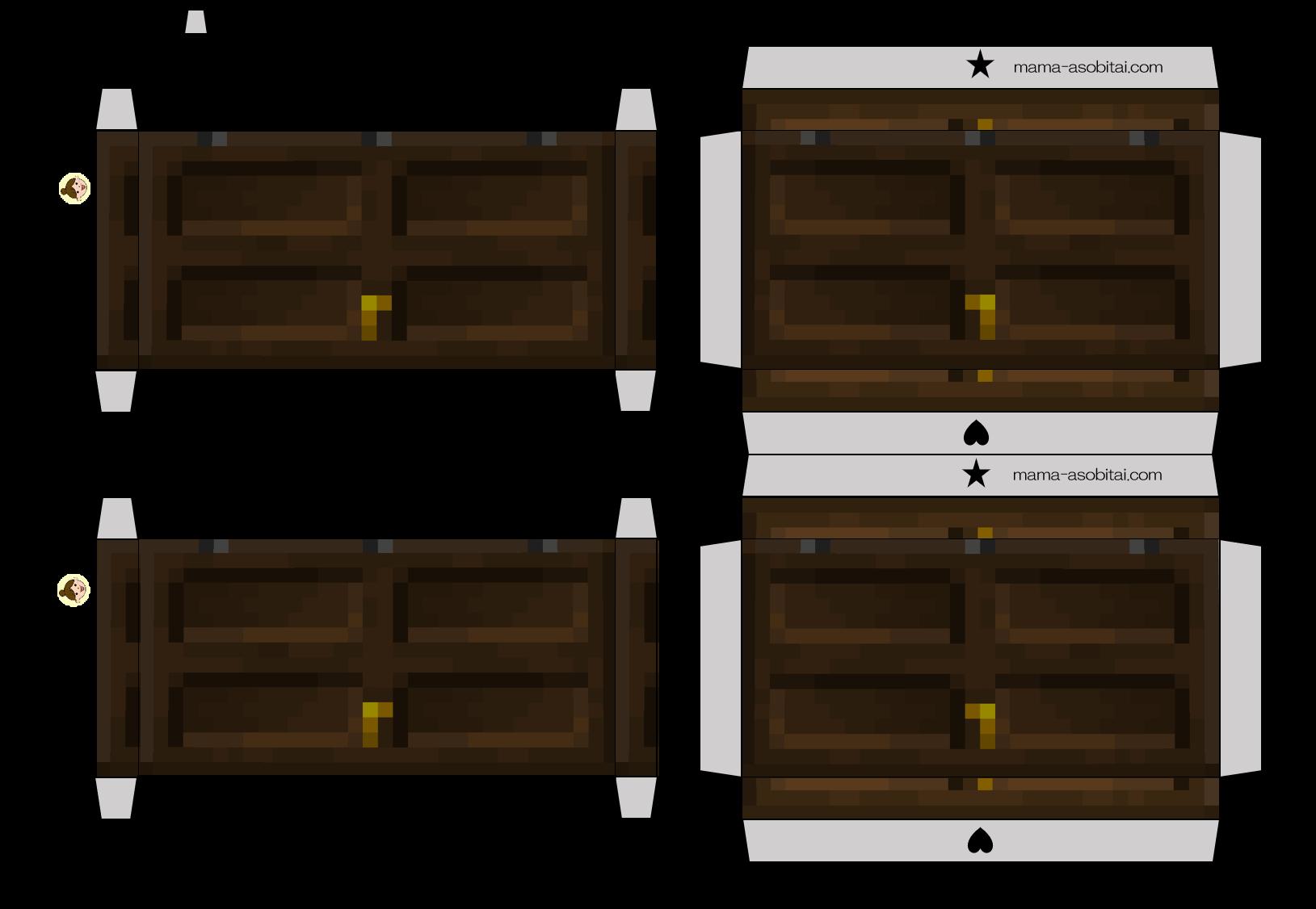 ペーパークラフト 工作 マイクラ 黒樫の木(ダークオーク)のドア Dark Oak Door